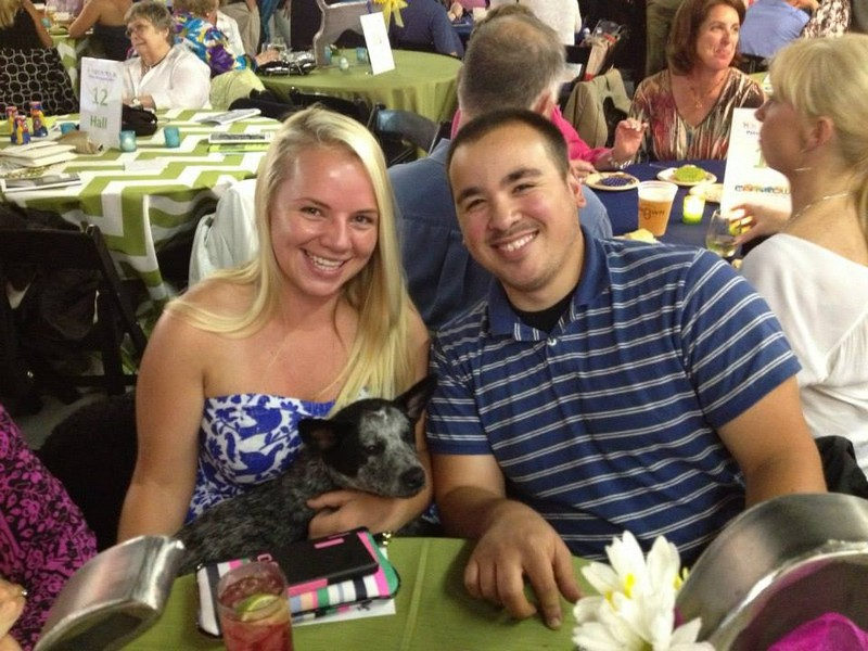 Amanda with husband, Joel, at Fetch a Cure benefit!
